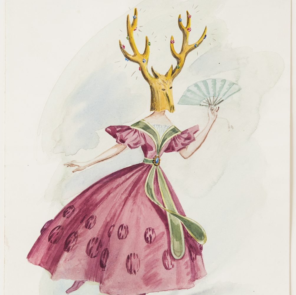 """Dorothea Tanning Costume for """"Night Shadow"""": A Guest, 1945 Watercolour and wash on paper 35.3 x 25.1 cm, 13 7/8 x 9 7/8 ins © ADAGP. Courtesy of The Destina Foundation, New York, and Alison Jacques Gallery, London."""
