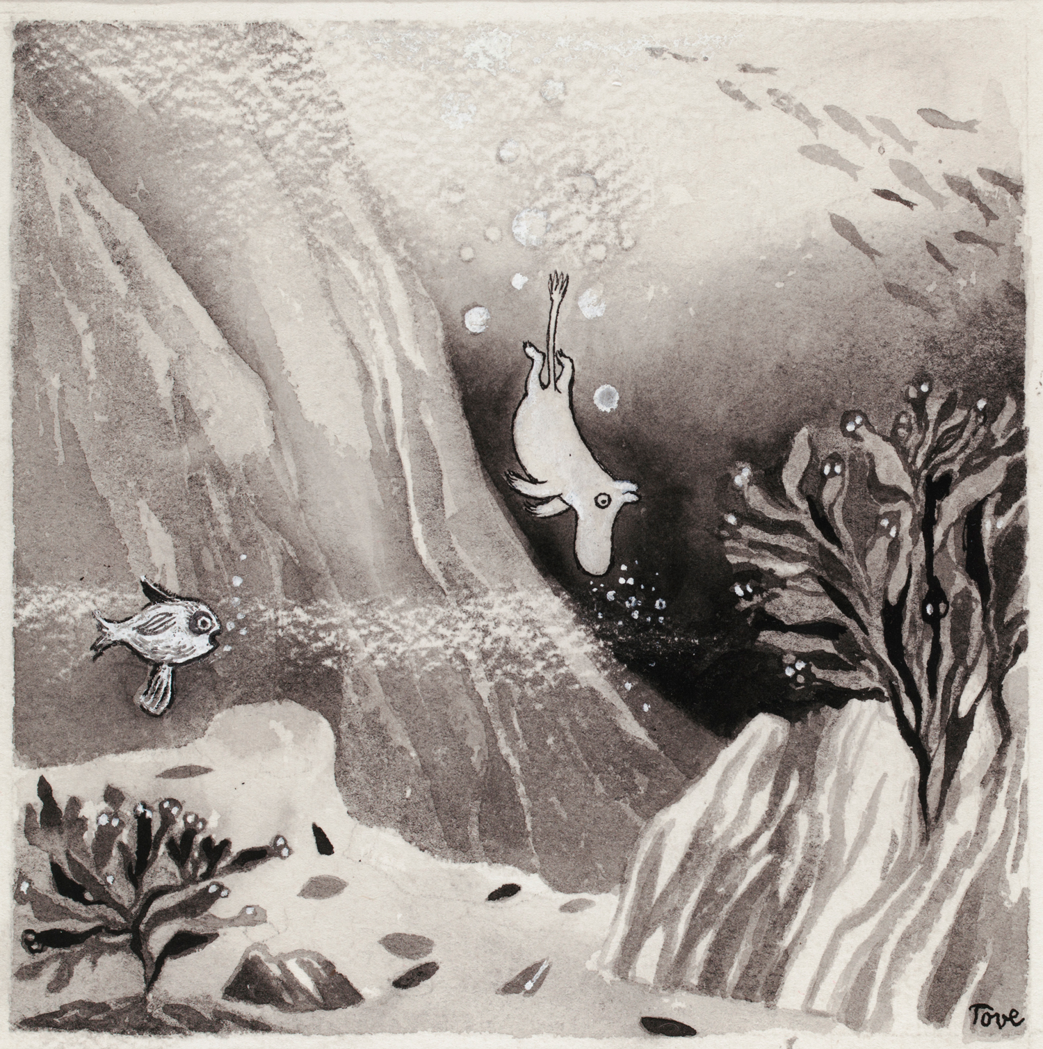 Tove Jansson, Illustration for the book Comet in Moominland, 1946, wash and indian ink, 15,8 x 15,8 cm, Moomin Museum, Tampere Art Museum Moominvalley Collection. Photo: Finnish National Gallery / Hannu Aaltonen. ©Moomin Characters TM